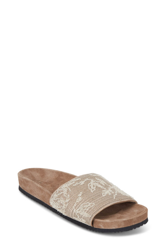 Brunello Cucinelli Oat Monili & Sequin Leather Slide