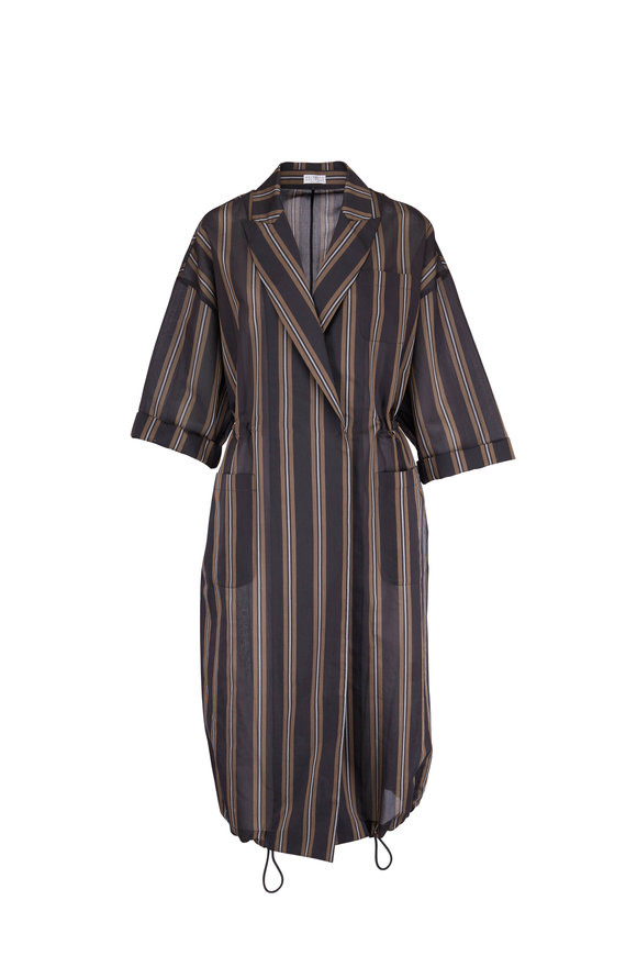 Brunello Cucinelli Onyx Striped Voile Elbow Sleeve Long Topper