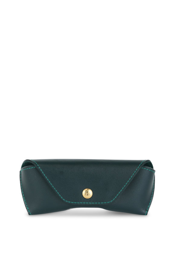 Ettinger Leather Spectrum Green Leather Glasses Case