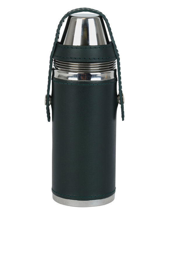 Ettinger Leather Hunter Green Leather & Steel Flask & Cups