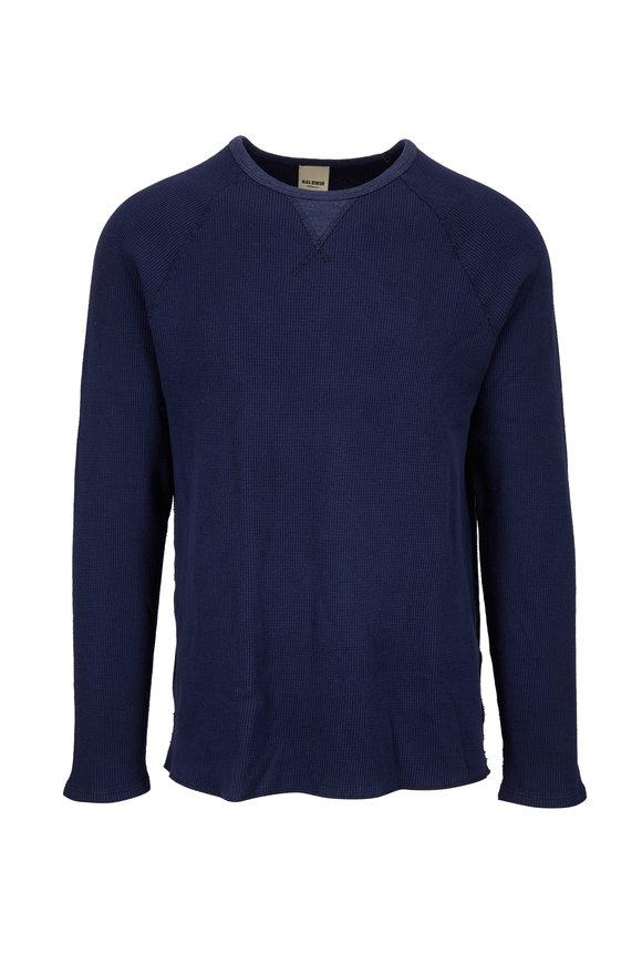 Baldwin Luis Vintage Navy Waffle Knit Long Sleeve Shirt