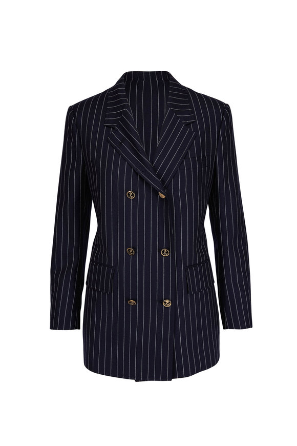 Thom Browne Navy Wide Lapel Double Breasted Blazer