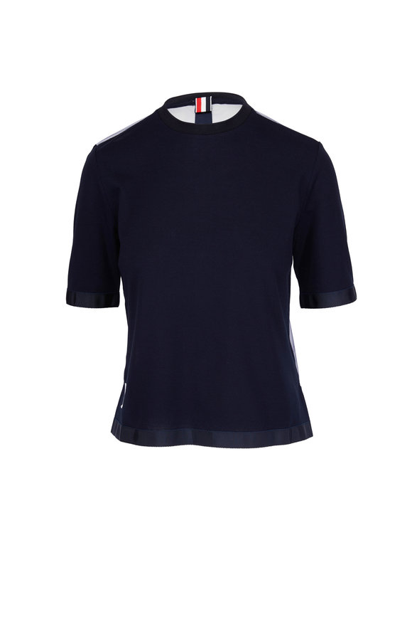 Thom Browne Navy Sheer Back Crewneck T-Shirt
