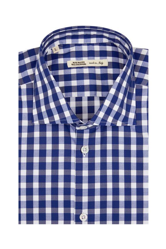 Maurizio Baldassari Navy Blue Buffalo Plaid Sport Shirt