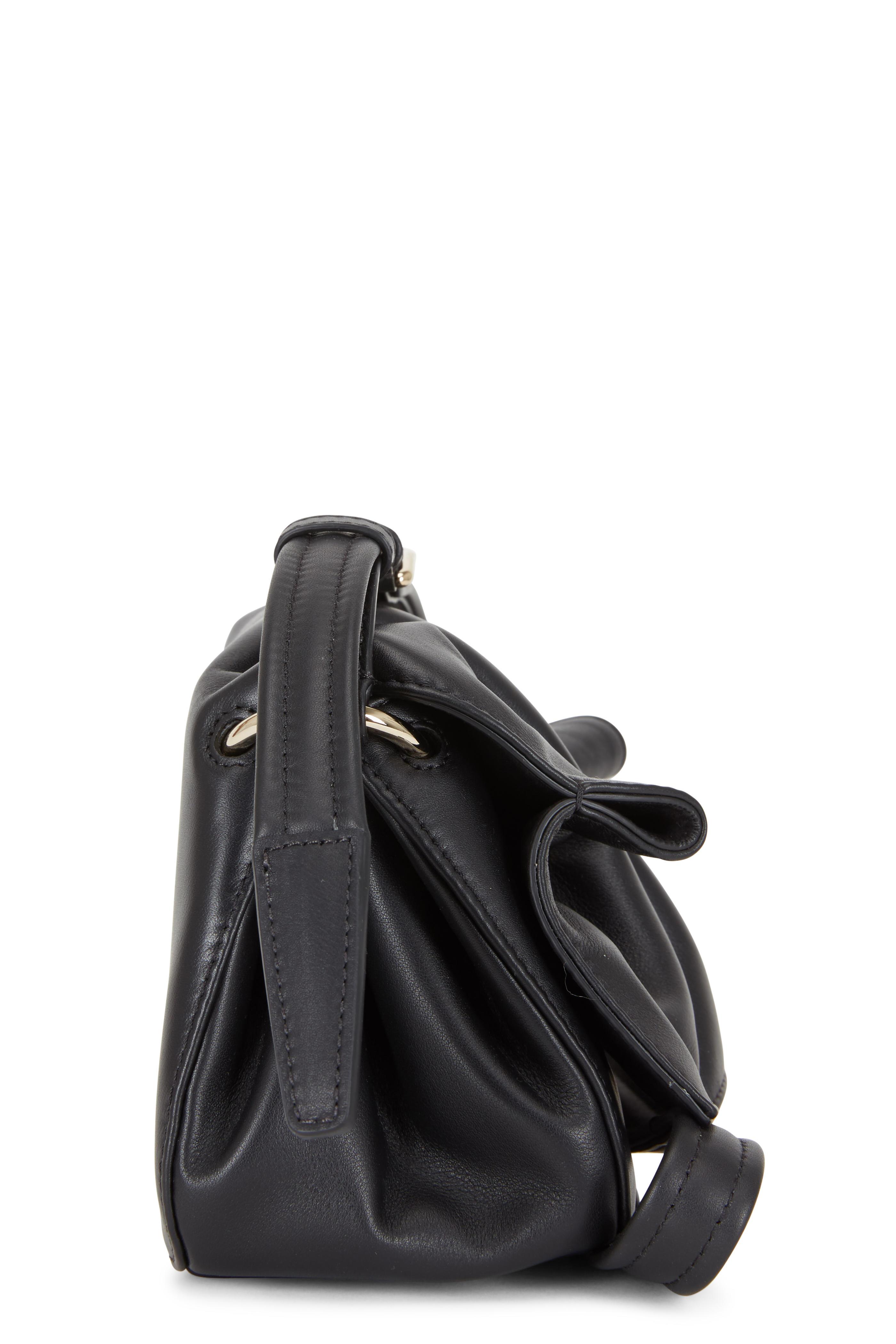 Bloomy Black Leather Mini Shoulder Bag