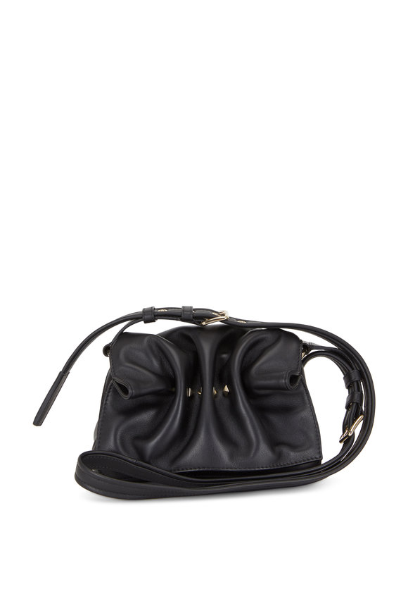 Valentino Garavani Bloomy Black Leather Mini Shoulder Bag