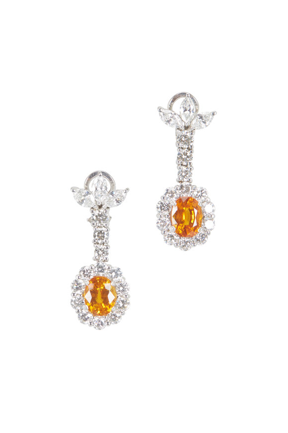 Lowy & Co Orange Sapphire Drop Earrings