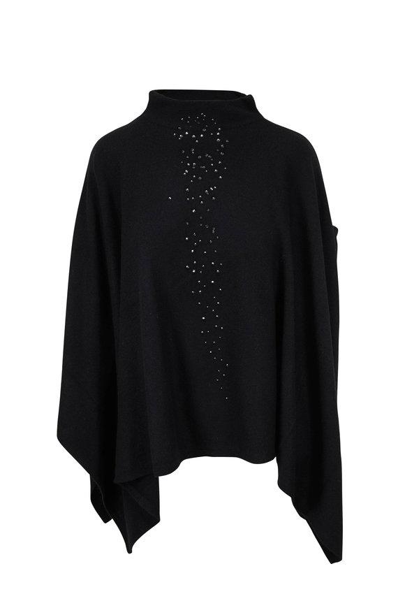 Kinross Black Cashmere Crystal Embellished Poncho