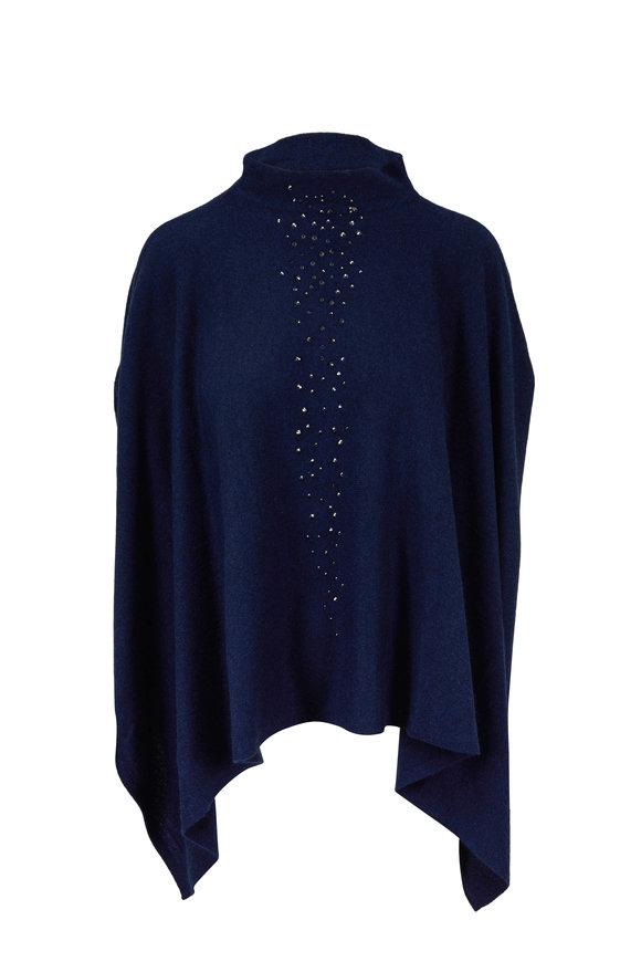 Kinross Inkwell Cashmere Crystal Embellished Poncho
