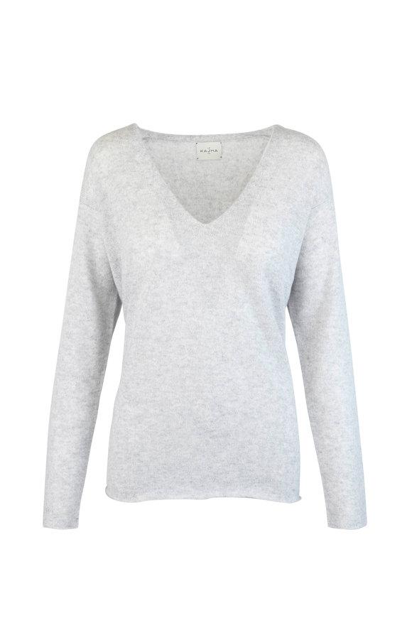 Le Kasha Light Gray Cashmere V-Neck Sweater
