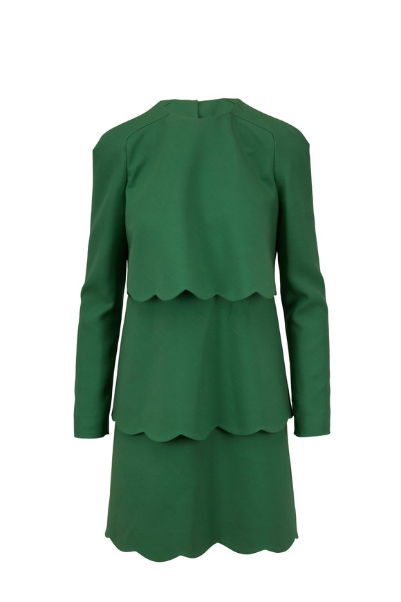 Valentino Green Crepe Couture Scallop Long Sleeve Dress