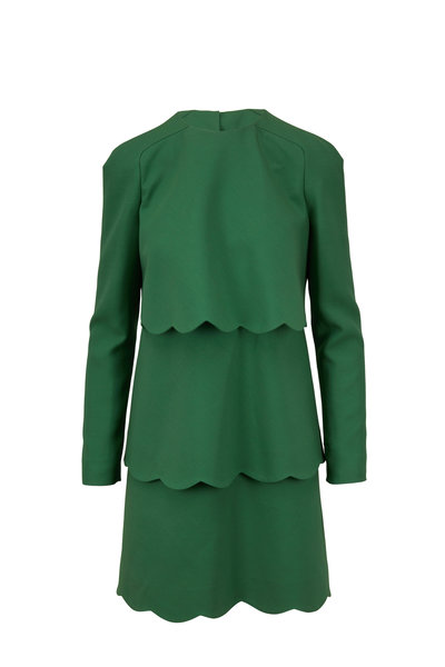 Valentino - Green Crepe Couture Scallop Long Sleeve Dress