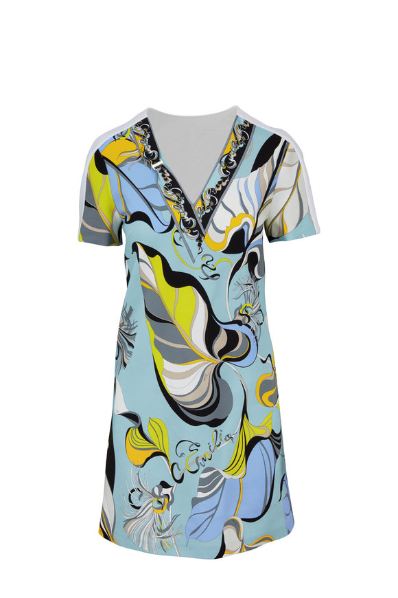 Pucci Blue Stretch Jersey Leaf Print Short Sleeve Dress