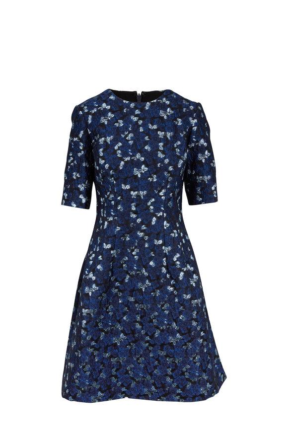 Lela Rose Holly Navy Jacquard Elbow Sleeve Dress