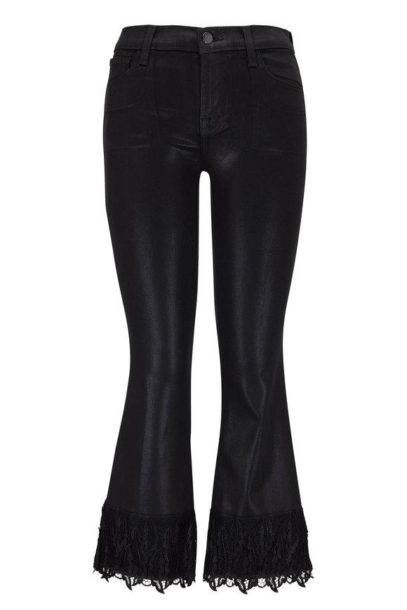 J Brand Selena Coated Black Lace Hem Crop Boot Jean