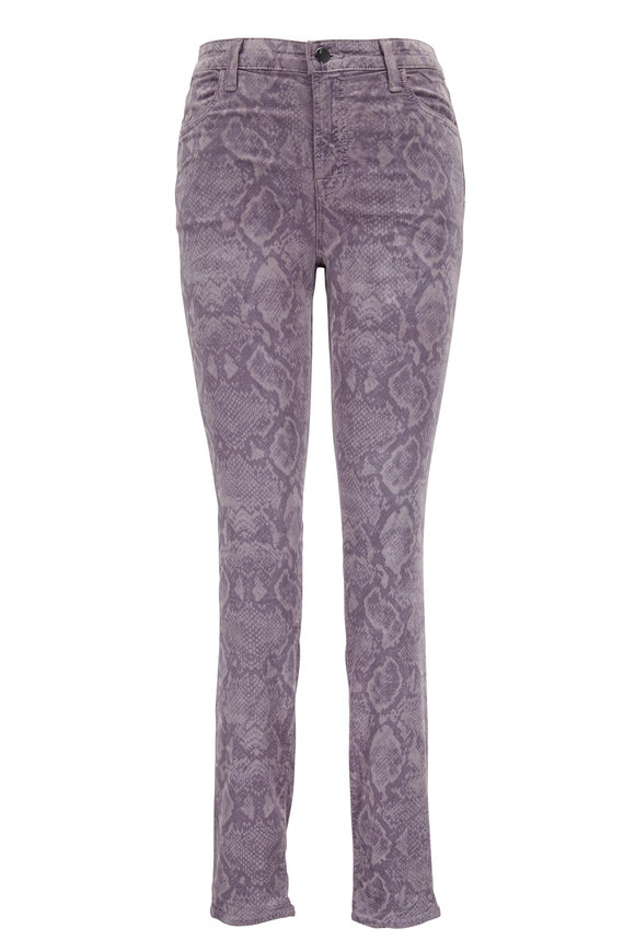 J Brand Maria Velvet Printed High-Rise Skinny Jean