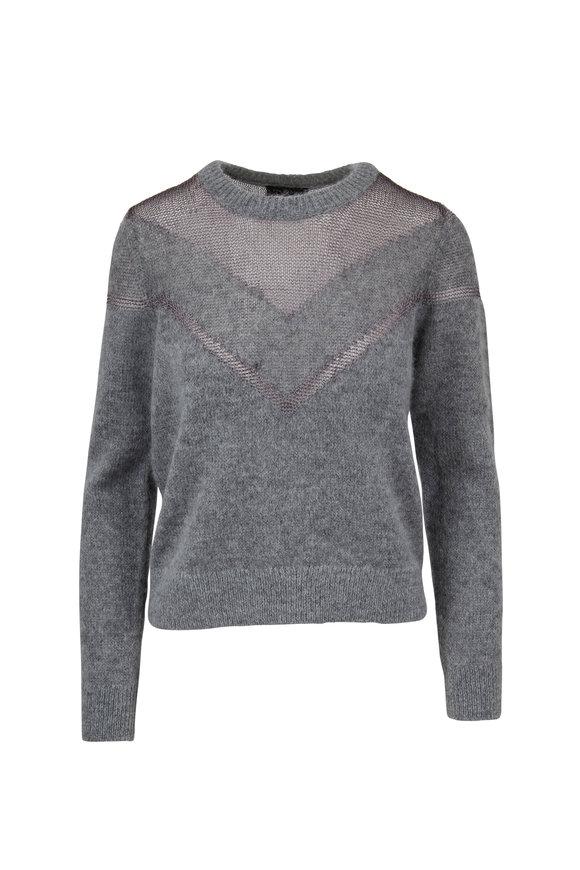 Rag & Bone Blaze Gray Heather Metallic Knit Inset Sweater