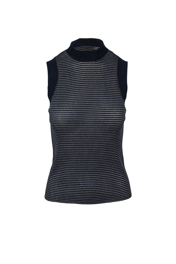 Rag & Bone Raina Denim Blue Lurex Striped Sleeveless Top