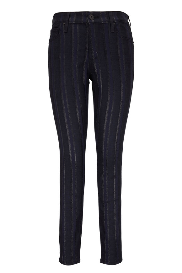 AG - Adriano Goldschmied Farrah Metallic Striped High-Rise Ankle Jean