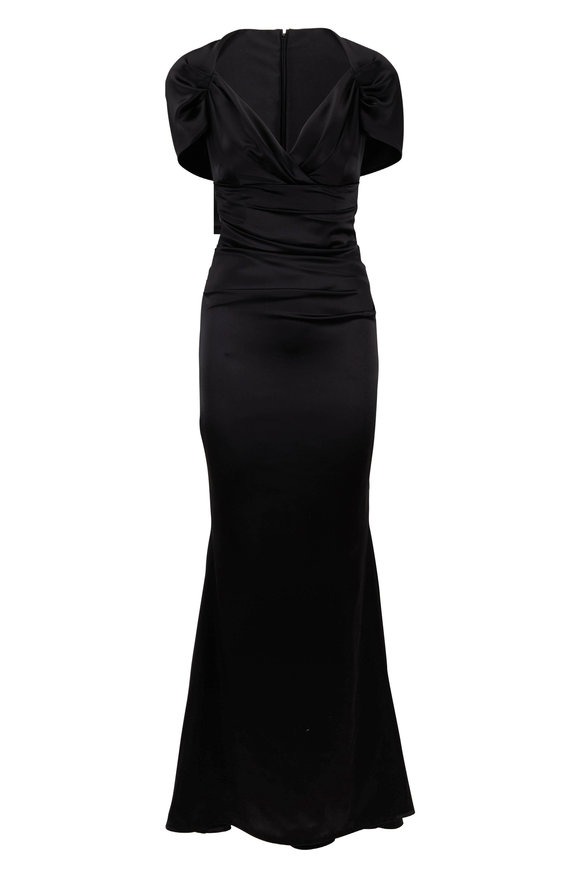 Talbot Runhof Polinesia Black Matte Crêpe Satin Cap Sleeve Gown