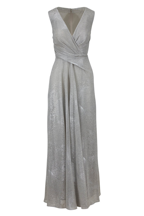 Talbot Runhof Pokario Silver Diamond Voile Sleeveless Gown