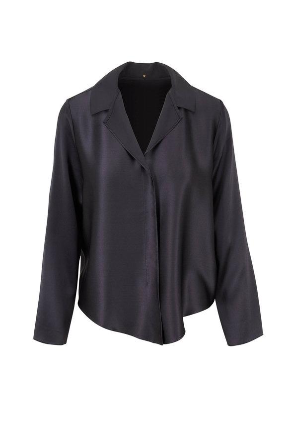 Peter Cohen Ram Slate Gray Silk Top