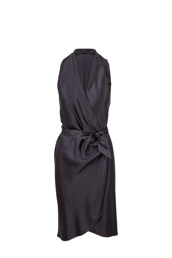 Peter Cohen Victor Slate Six-Ply Silk Wrap Dress