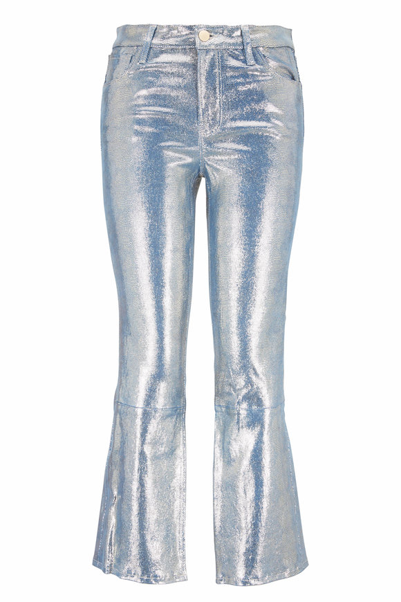 J Brand Selena Metallic Foiled Leather Crop Boot Jean