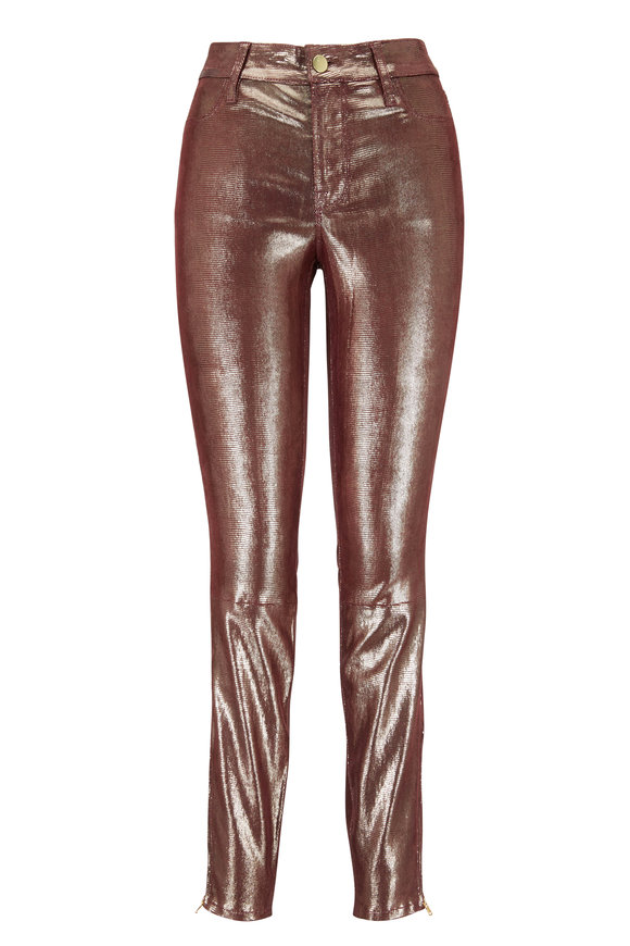 J Brand Burgundy Foiled Leather Mid-Rise Skinny Jean