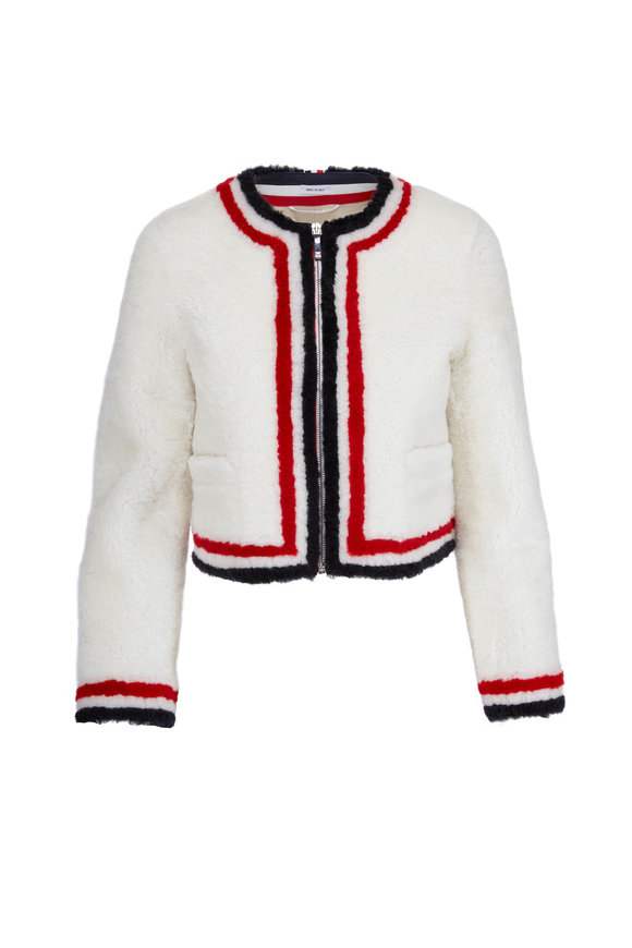 Thom Browne White Fur Intarsia Striped Zip Cardigan Jacket