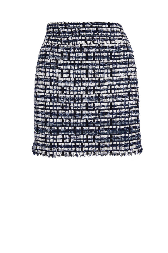 Thom Browne Navy & White Tweed Frayed Mini Skirt