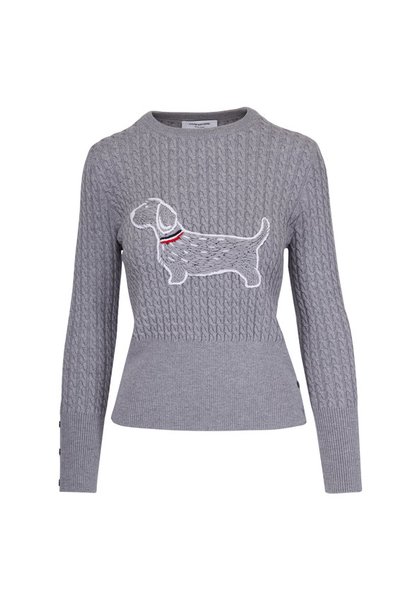 Thom Browne Light Gray Wool Dachshund Crewneck Sweater