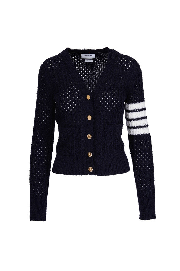 Thom Browne Navy & White Arm Stripe V-Neck Cardigan