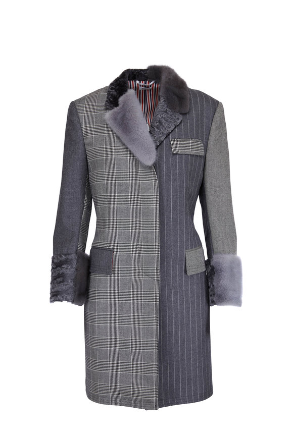 Thom Browne Gray Wool Plaid & Stripe Fur Trim Coat
