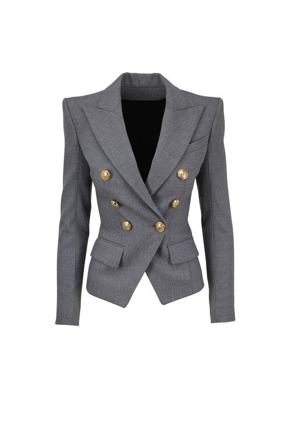 Balmain Medium Gray Wool Double-Breasted Blazer