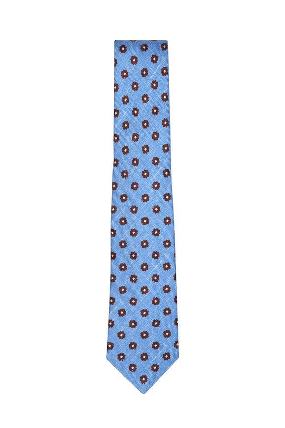 Kiton Light Blue & Brown Floral Silk Necktie