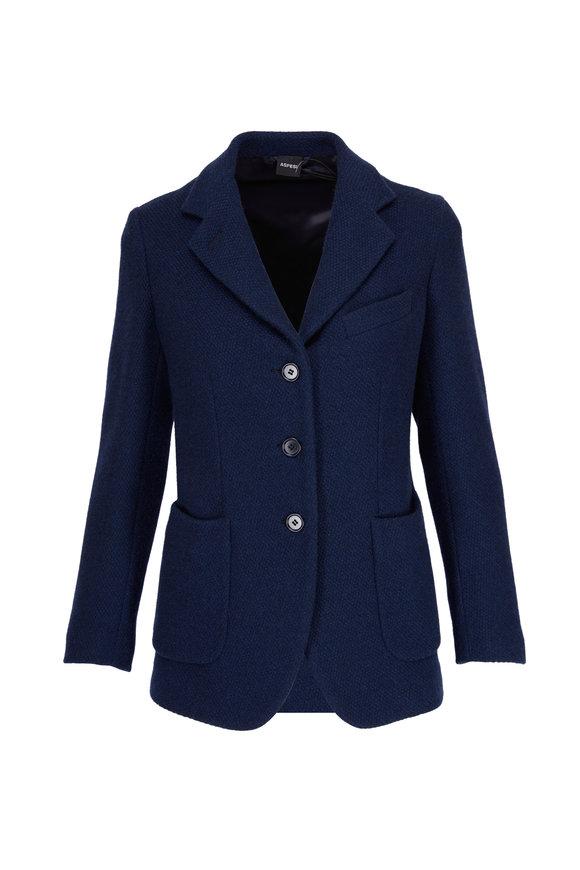 Aspesi Navy Cashmere Three-Button Jacket