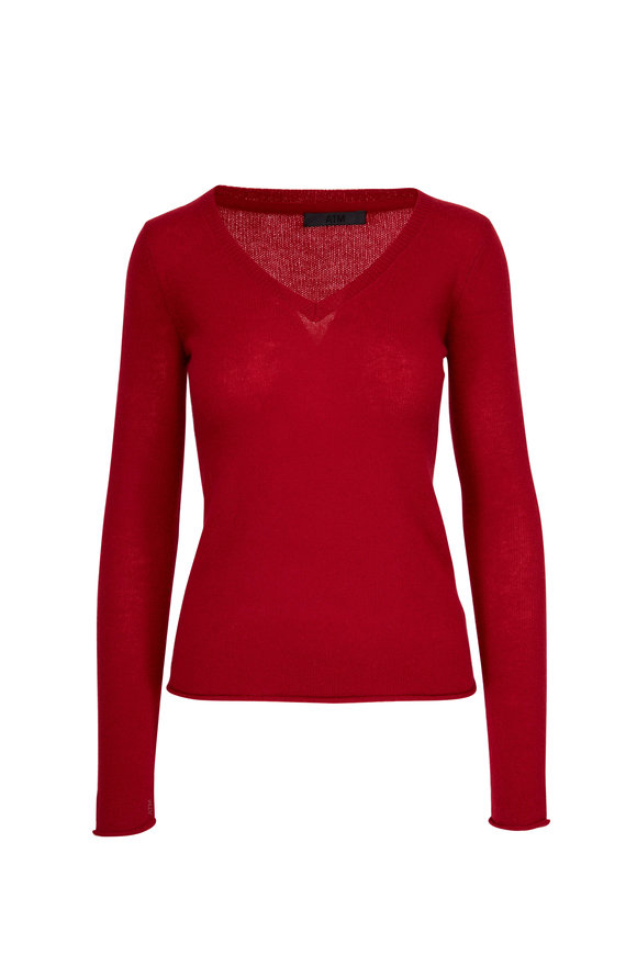 A T M Red Cashmere V-Neck Sweater
