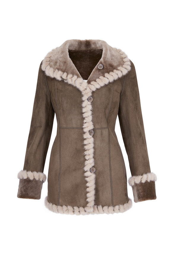 Viktoria Stass Reversible Beige & Gray Shearling & Mink Jacket