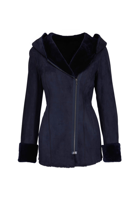 Viktoria Stass Navy Shearling Asymmetric Zip Hooded Coat