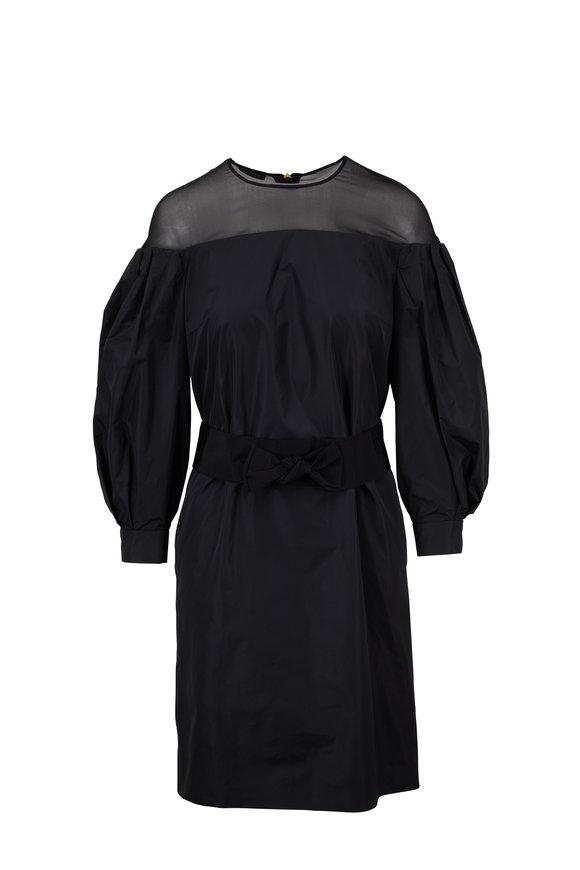 Escada Dellitta Black Sheer Shoulder Belted Dress