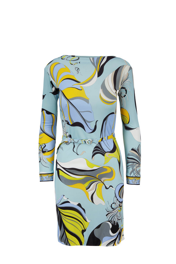 Pucci Blue Leaf Printed Belted Dress