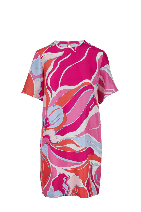 Pucci Fuchsia & Orange Silk Wave Printed Dress