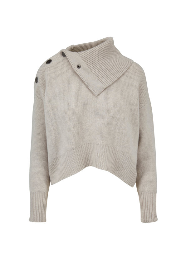 Le Kasha Light Beige Cashmere Three Snap Shoulder Sweater