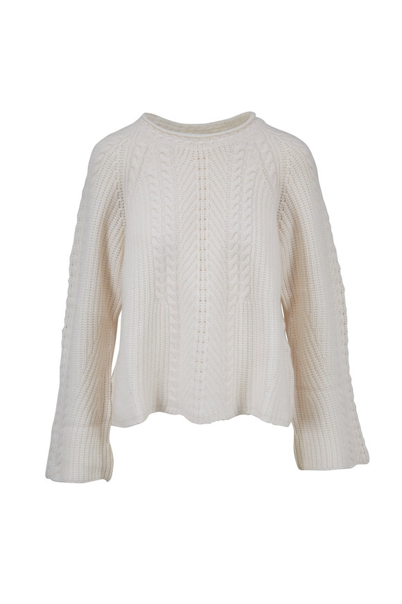 Le Kasha Grenade White Cashmere Cable Knit Sweater