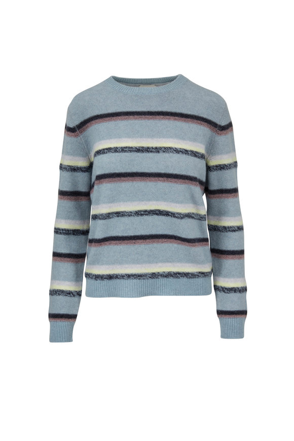 Le Kasha Light Blue Cashmere Striped Sweater
