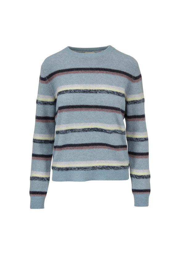 Le Kasha Light Blue Cashmere Striped Sweater