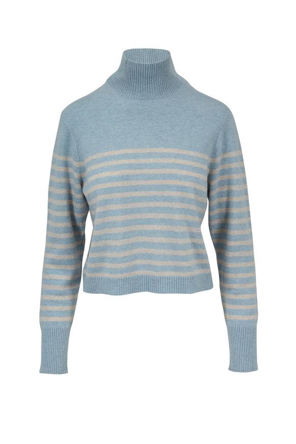 Le Kasha Light Blue & Beige Cashmere Striped Sweater