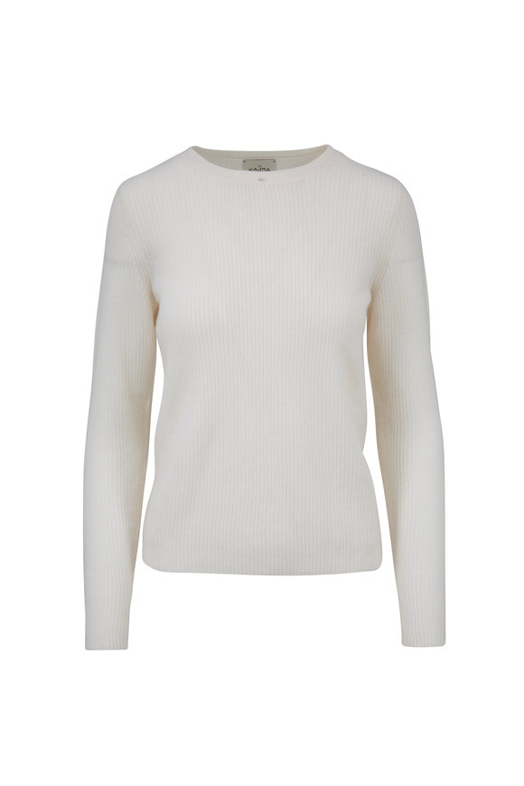 Le Kasha Dublin White Cashmere Ribbed Sweater