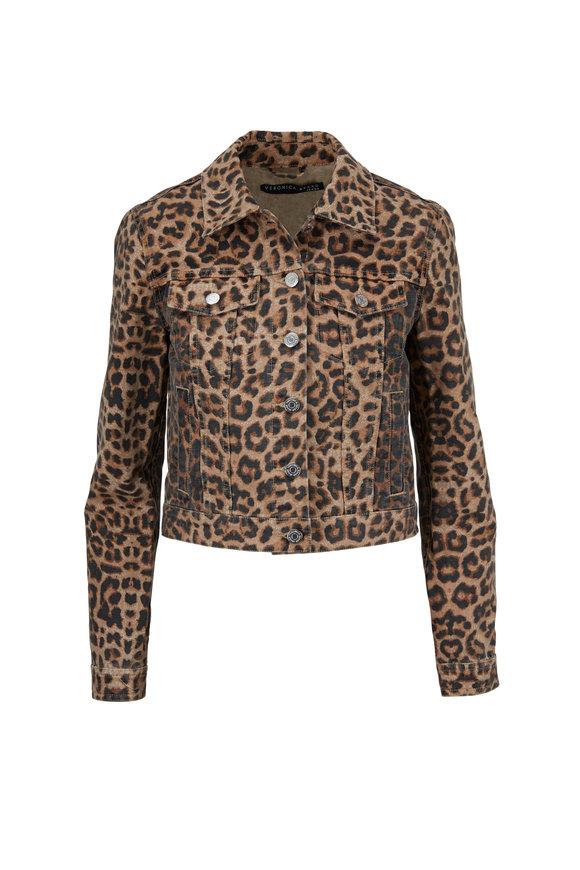 Veronica Beard Cara Leopard Printed Jean Jacket